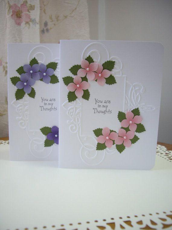 handmade sympathy card, purple sympathy card, pink sympathy card,condolence card, thinking of you card, friendship card, wildflower card