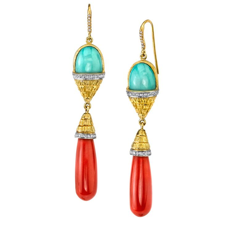Turquoise Coral Drop Earrings | From a unique collection of vintage drop earrings at http://www.1stdibs.com/jewelry/earrings/drop-earrings/