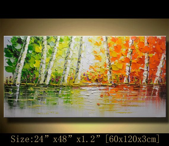 contemporary wall art, Palette Knife Painting,colorful tree painting,wall decor , Home Decor,Acrylic Textured Painting ON Canvas by Chen w1