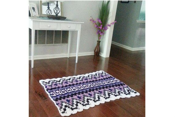 Crochet Geometric Tribal Print Rug boho chic by EvaVillain on Etsy