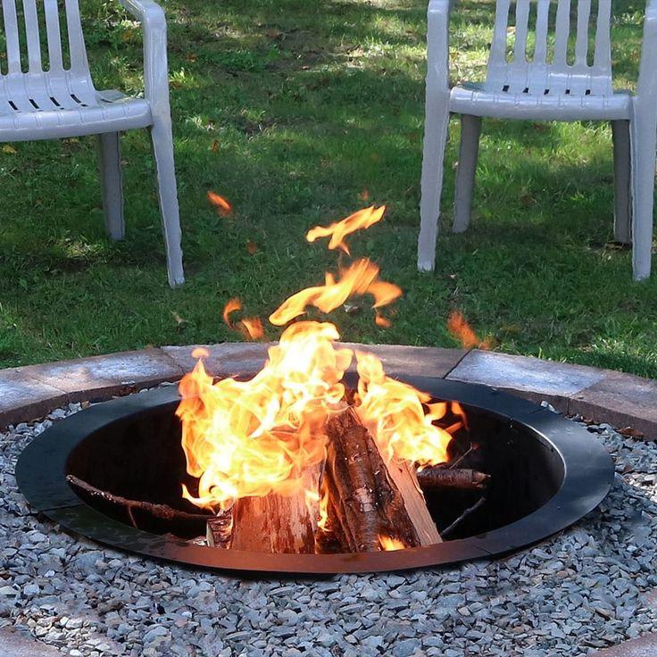 Sunnydaze Durable Steel Fire Pit Ring Liner DIY Fire Pit Rim - 27 Inch Diameter, Black, Outdoor Décor