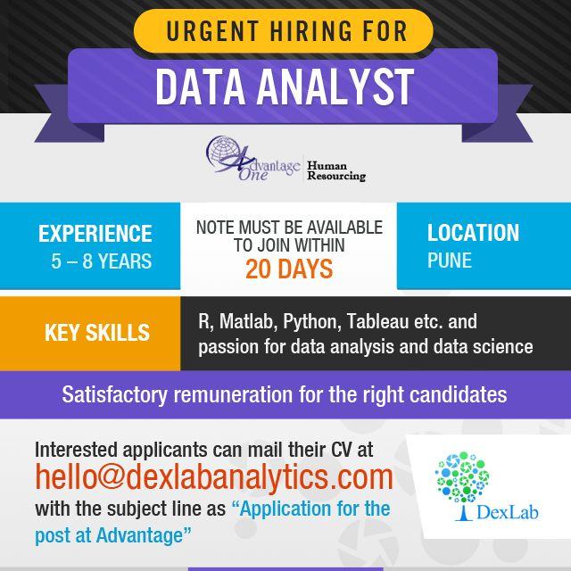 Urgent hiring for #DataAnalyst
