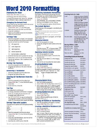 Microsoft Word 2010 Formatting Quick Reference Guide (Cheat Sheet of Instructions, Tips  Shortcuts - Laminated Card)