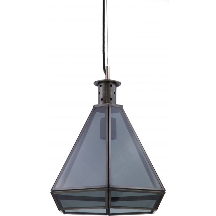 Give any space an industrial feel with this unique hexagonal Hektor Pendant Light, constructed with iron and glazed with black glass panes for a darker look. The Hektor Pendant takes an E27 globe (not included) and requires installation by a licensed electrician.