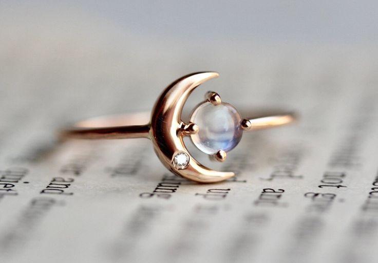 14K Moonstone Star And Moon Ring Diamond Night Sky