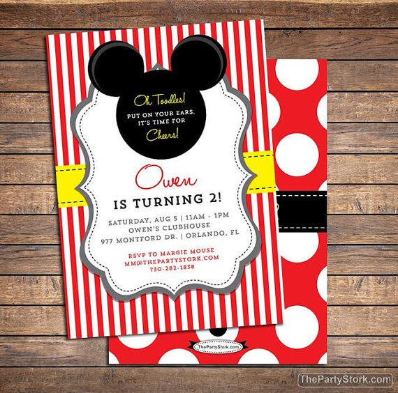Mickey Mouse Invitation | Printable Boys Party Invite | Boy Girl |See our Shop for Mickey Themed DIY Party Pack & Decorations