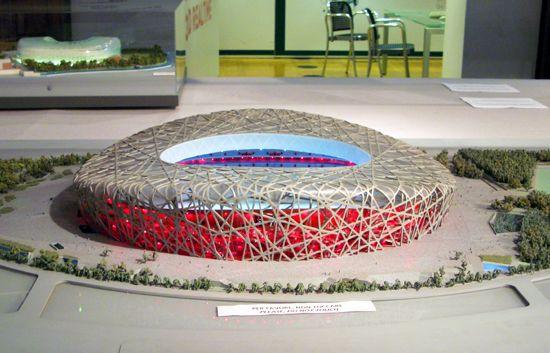 model of 'national stadium' (birds nest) by herzog & de meuron, beijing, china