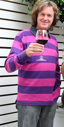 I think James May is adorkable. This is him with a glass of wine (cars and wine, his passions) and his purple striped shirt, which he wears frequently. I mean a lot.