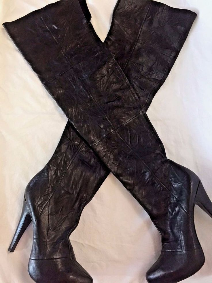 Sz 10 Boots Report Signature Fairfax Modern Platform Over Knee Black High Heels #ReportSignature #OverKneeBoots #Clubwear