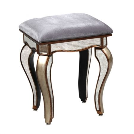 Antiqued gold mirror dressing table stool with velvet seat - £143.10 Shop > http://www.beau-decor.co.uk/dressing-tables-stools/antiqued-gold-mirrored-dressing-table-stool?cPath=173&