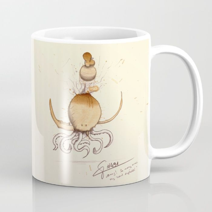 #coffeemonsters 491 Mug funny and cool art coffee mug with monsters made from coffee stains