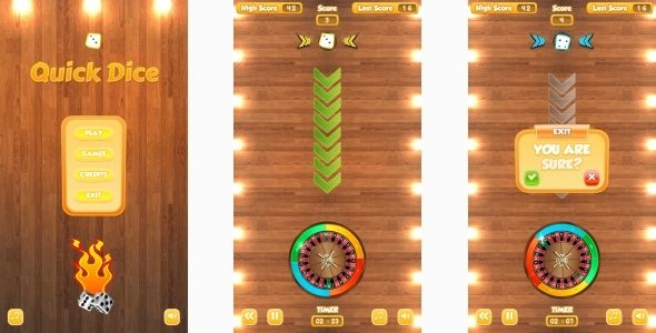 Quick Dice - HTML5 Mobile Game (Capx)  Quick has features such as - dice resume