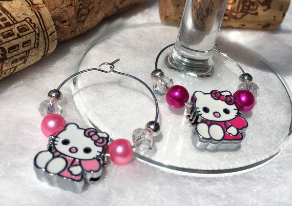 Pink Hello Kitty Wine Glass Charm. Set of 1.  by LasmasCreations