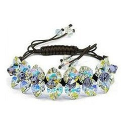 Glamorous Clear White Crystal Adjustable Bracelet Contempo Culture