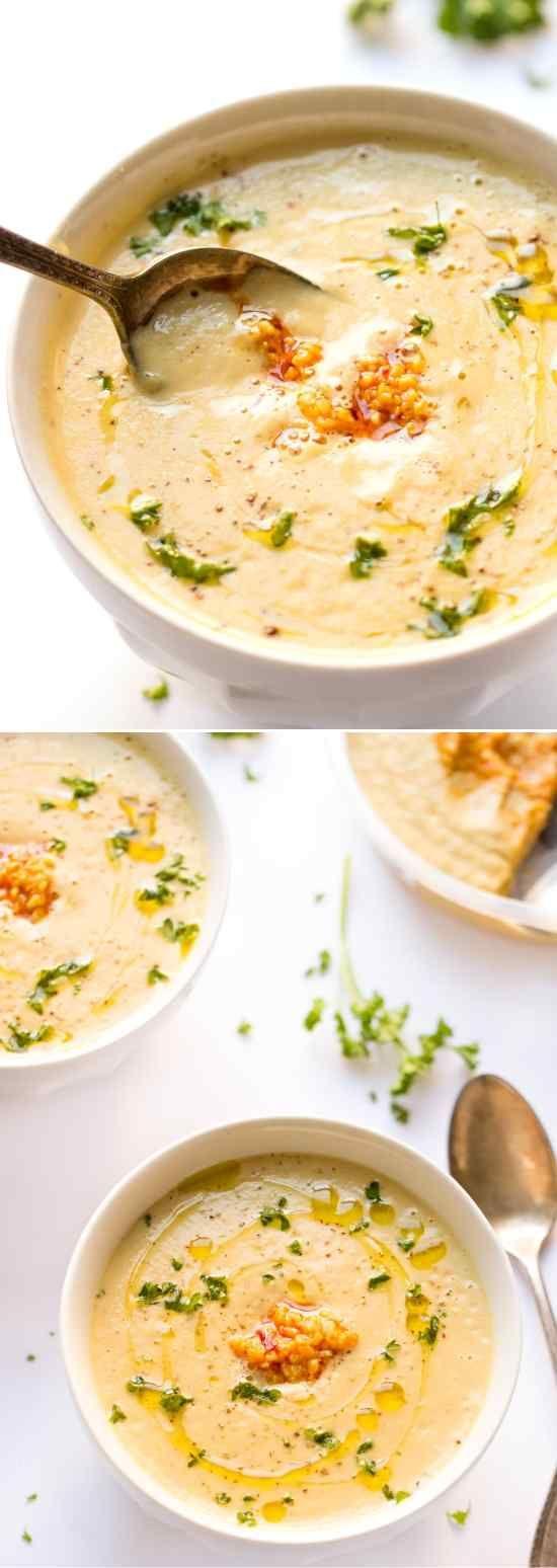 30-Minute Roasted Garlic Cauliflower Chowder - cashew, cauliflower, chowder, healthy, potato, quinoa, recipes, vegetable