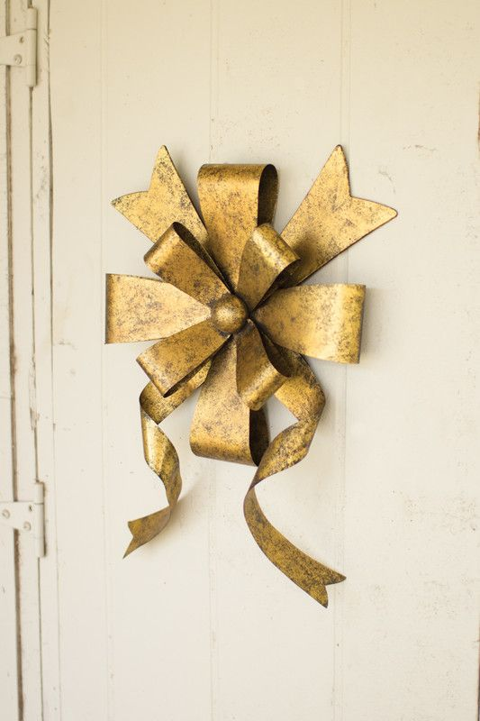 Rustic Gold Metal Front Door Christmas Bow Holiday 2014
