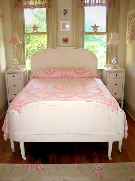 "White Vintage Full Size Bed - Dimensions: headboard - 56 3/4"" wide x 52"" high; footboard - 56 3/4"" wide x 33"" high"