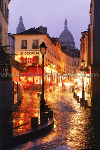 Stock Photo titled: Wet Streets Of Montmarte With Sacre Coeur In Paris At Night, unlicensed use prohibited