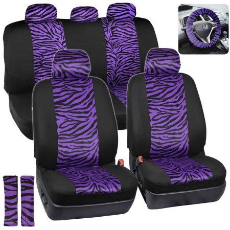 BDK Zebra Print Car Seat Covers Two Tone Accent On Black 9pc Full