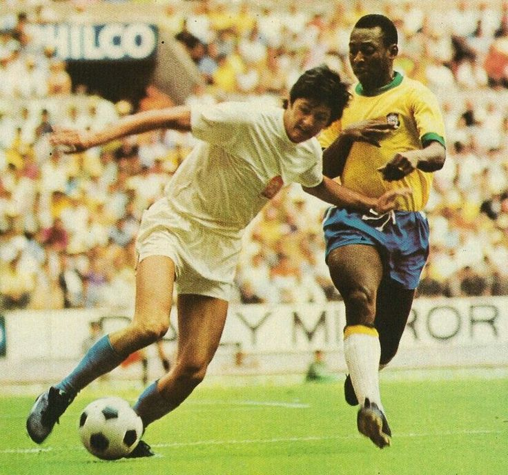 Brazil 4 Czechoslovakia 1 in 1970 in Guadalajara. Karol Dobias tries to escape Pele in Group 3 at the World Cup Finals.