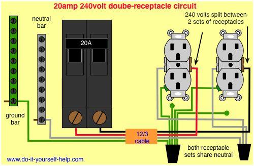 30 Amp Split Breaker Wiring Diagram Wiring 20 Amp Double Receptacle Circuit Breaker 120 Volt