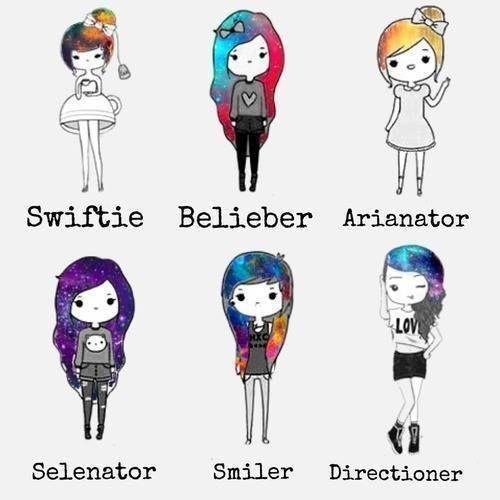 hmm.. Taylor Swift, Justin Bieber, Araina Grande, Selena Gomez, um whos smiler?, and directioner... I'M DEFINITELY A DIRECTIONER!!!!!!!