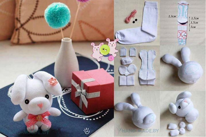 Bonequinho feito com meias.: Diy'S Idea, Diy'S Crafts, Socks Rabbit, Crafts Idea, Crafty Idea, Cute Socks, Diy'S Gifts, Diy'S Bunnies, Rabbit Diy'S