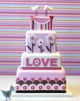 A Fun and funky cake all about love.