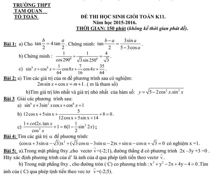 Đề thi học sinh giỏi môn toán lớp 11 cấp tường Tam Quan thuộc tỉnh Bình Định năm 2015-2016 có cấu trúc gồm 5 câu, thời gian làm bài 150 phút, nội dung đề thi tương đối dài và khó