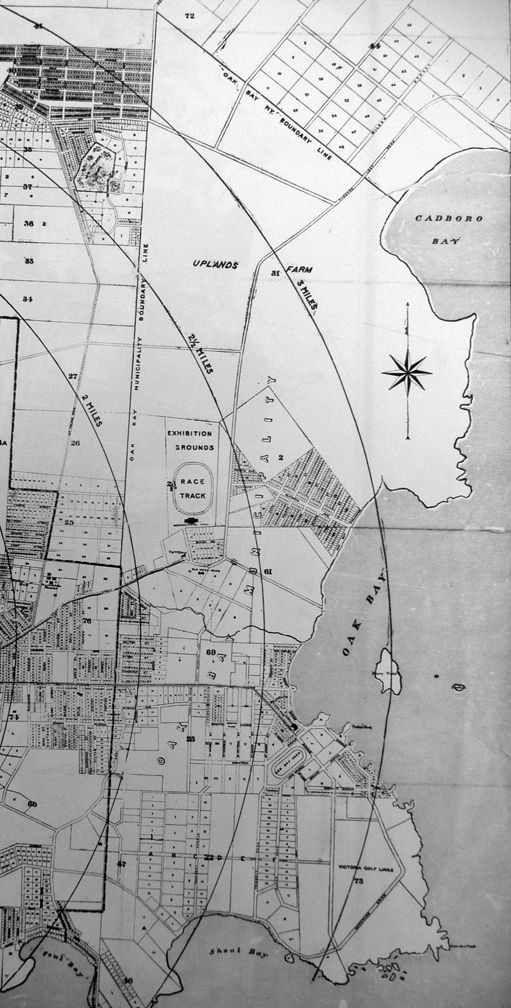 """""""Map of Victoria, British Columbia: showing subdivisions on official record up to January 15, 1907."""" Author D. R. Harris. Publisher T. N. Hibben & Co., 1907. In a BC Archives reference room map binder. An early map of then-new Oak Bay municipal borders. Harling Point cut off on original."""