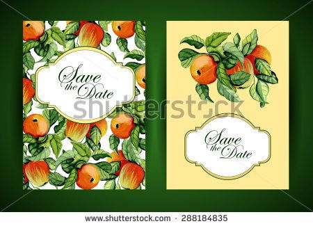 Wedding invitation or greeting card with ripe apples. Vector illustration