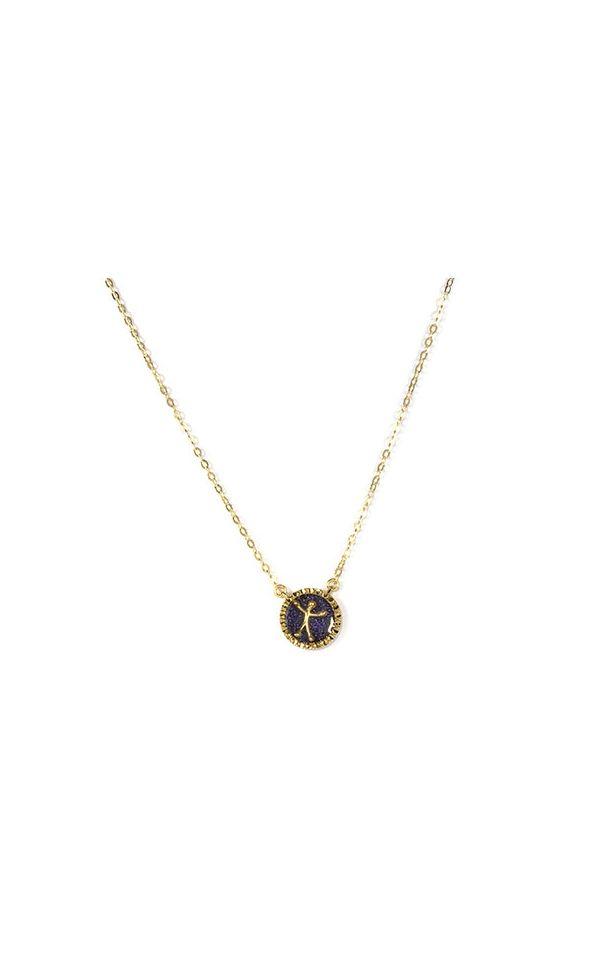Catenina e ciondolo in argento con omino pensieri felici smaltato viola, per chi ama brillare con colori decisi.