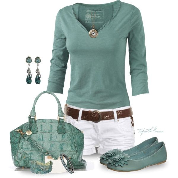 Summer Outfit... its a little too matchy for me but with tan or brown sandals it would be really cute!