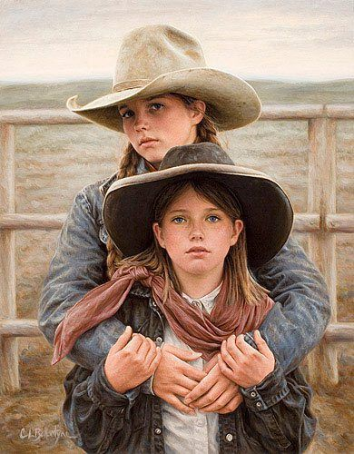 """'Sisters' by artist Carrie Ballantyne <> 'In her late teens, Carrie traveled to Cody, Wyoming in order to work in the mountains and with horses. Big game outfitters provided both, where she worked as a camp cook for several years. The town of Cody introduced Carrie to the rodeo, and then to the local ranching community. It was then that the western culture took on a deeper meaning. """"The 'West' became more than an image to me, there was a lifestyle here that I wanted.""""' (western, art…"""