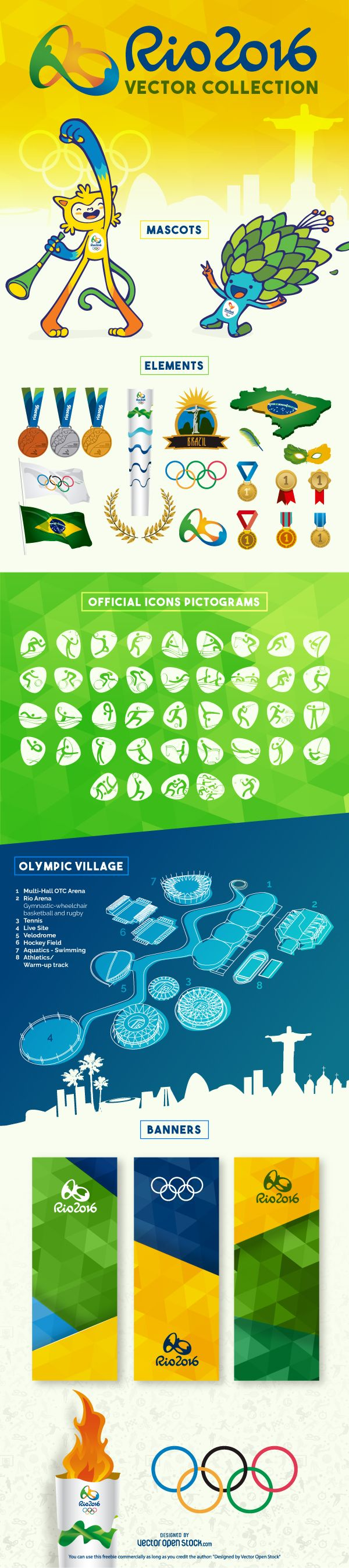 #Rio2016 #RioOlympics #OlympicGames #RiodeJaneiro #Brazil #sports #Olympics #icons #elements #resources #vector #graphics #images #resources #design #graphic #banners #medals #countries #pictograms #torch #flags #olympicrings #rings #continents #mascots #olympicvillage