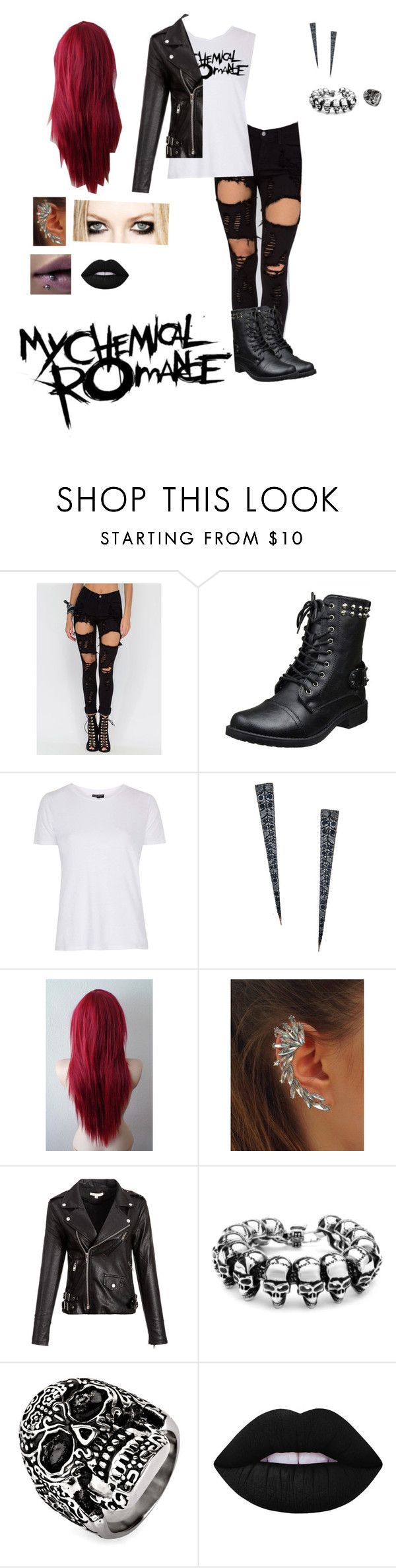 """My Chemical Romance"" by pinkglitter4170 ❤ liked on Polyvore featuring Topshop, Lana, West Coast Jewelry and Lime Crime"