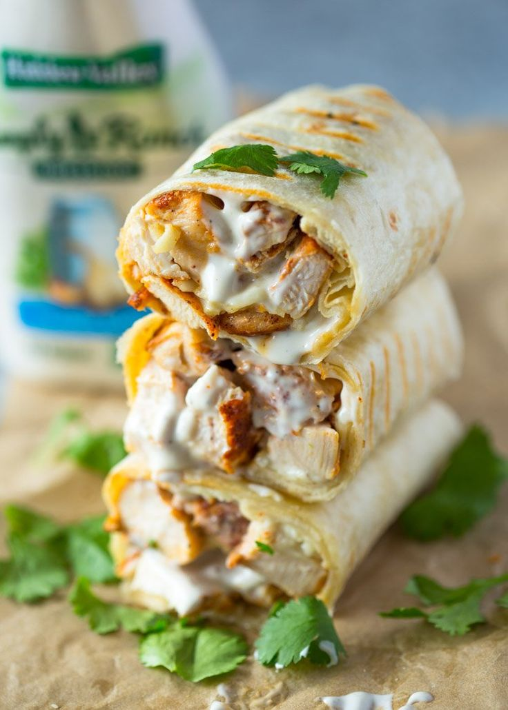 Healthy grilled chicken and ranch wraps are loaded with chicken, cheese and ranch. These tasty wraps come together in under 15 minutes and make a great lunch or snack!Ranch and chicken are a match…