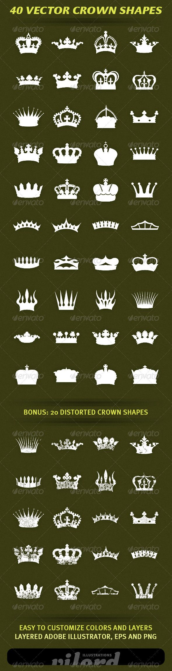 "40 Vector Crown Shapes #GraphicRiver Set of 40 vector vintage crown shapes for your graphic designs. Great for print or web design! Enjoy Adobe Illustrator is main file and ""fully editable"". Also transparent PNG and EPS files in the package. BONUS : 20 distorted heraldry crown shapes also included. Created: 17March12 GraphicsFilesIncluded: TransparentPNG #VectorEPS #AIIllustrator Layered: Yes MinimumAdobeCSVersion: CS Tags: crests #crowns #decoration #heraldry #ornaments #print #retro…"