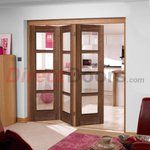 Nuvu Roomfold Vancouver Walnut 3 Door Set with Clear Glass, 2078mm high and 2130mm wide.
