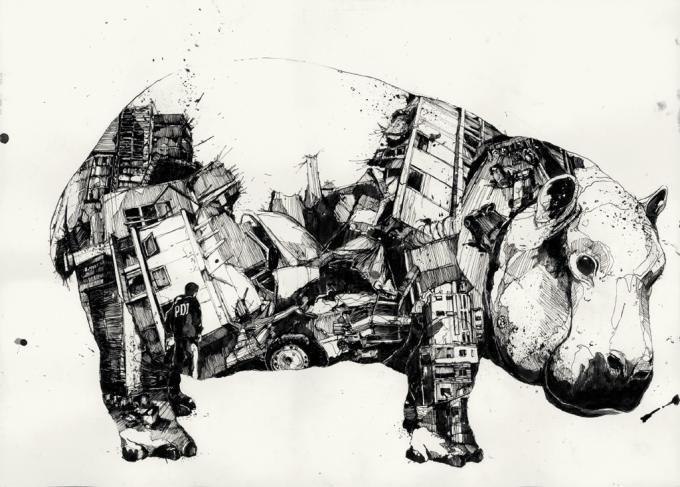 Caos y orden, 2010. Ilustración © Simón Prades. Señala encima de la imagen para verla más grande.