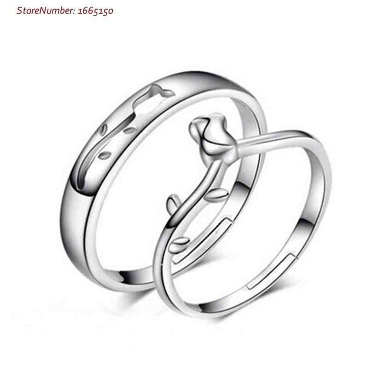 Sterling Silver Matching Flower Couples Wedding Rings Set For 2 Personalized Gifts