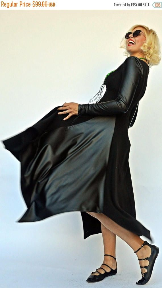 SALE 25% OFF Black Maxi Dress with Eco Leather Sleeves / https://www.etsy.com/listing/468067478/sale-25-off-black-maxi-dress-with-eco?utm_campaign=crowdfire&utm_content=crowdfire&utm_medium=social&utm_source=pinterest
