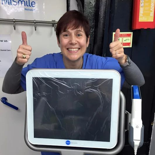 One very happy and excited dentist - Dr Erika Schoeman. My iTero scanner arrived! Plastic protective screen protector still on! No more nasty impression. Bring on my new 3D Invisalign scans and simulations! The iTero 3D Scanner digitally captures the contours of your teeth and gingival structures, producing an accurate scan in just minutes.   #iTero #MiSmile #Invisalign #happy