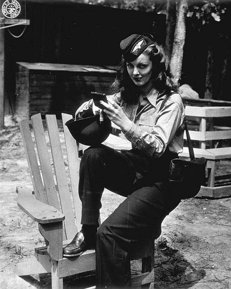"Mary ""Sherry"" Shadburne at Camp Patrick Henry in Virginia before embarking for overseas service.    August 1944"