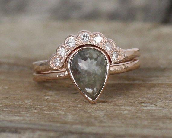 SET  Pear Rose Cut Gray Diamond Bezel Ring in 14K by Studio1040