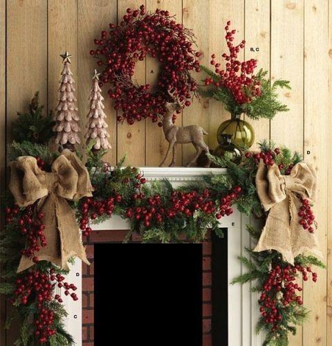 Christmas Fireplace Mantel Decor - http://homechanneltv.blogspot.com/2015/12/christmas-fireplace-mantel-decor.html
