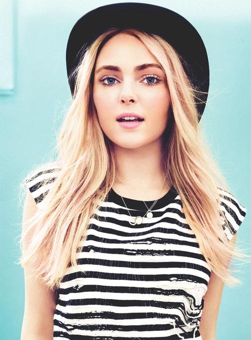 stripes + hat on Anna Sophia Robb