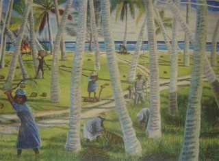 Women clearing the field on Diamon Island, one of the smaller islands of Peros Banhos. The 'kommander' dressed in white in the centre of the picture used a long stick to indicate the size of the area to be cleared by each woman. The coconuts gathered on the smaller islands were brought by boats to the central plantations.