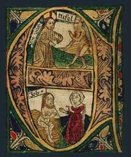 'E' - inicjał z Biblii Zainera wydanej w Augsburgu w r. 1475