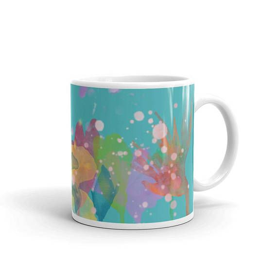 Blue Mug Floral Coffee Mug Colorful Mug Watercolor Flowers Mug
